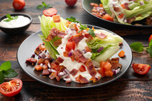Iceberg Wedge Salad With Bacon, Cherry Tomatoes, Red Onion And Dressing. Healthy Food
