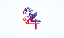 Abstract 34 Number Logo, Number 34 Monogram Line Style, Usable For Anniversary, Business And Tech Logos, Flat Design Logo Template, Vector Illustration