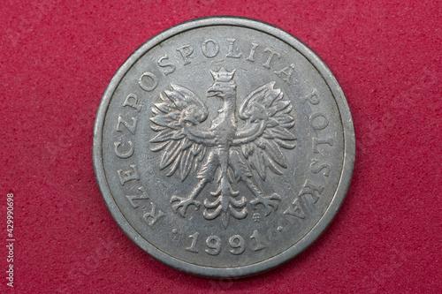 Obraz moneta bilon polska 1 złoty kolor srebrny - fototapety do salonu