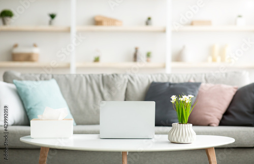 Cozy workplace for remote job at home, simple contemporary interior design and gadget - fototapety na wymiar