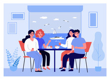 Happy Friends On Vacation Having Meal Together. Couples Chatting At Table, Motor Boat Outside Window Flat Vector Illustration. Holiday, Voyage Concept For Banner, Website Design Or Landing Web Page
