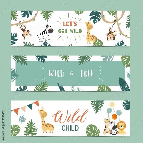 Obraz Set of cute safari with giraffe, zebra,monkey.Vector illustration for baby invitation, kid birthday invitation,banner and postcard - fototapety do salonu