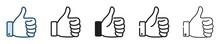 Thumb Up Icon Set, Like Sign, Like Symbol, Line Icon, Vector Illustration