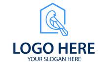 Blue Color Line Art Bird Home Logo Design
