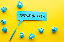 Think Better Idea And Creativity Concepts With Text On Bubble Paper And Paper Crumpled Ball.