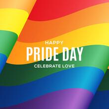LGBT Rainbow Flag Background. Waving Pride Sign Backdrop. Bisexual Gay Lesbian Transsexual Symbol. Love Orientation Lifestyle Illustration