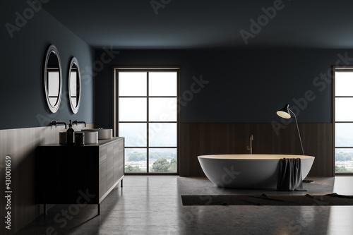 Fototapeta Bathroom interior with two sinks and bathtub with lamp obraz