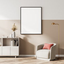 Light And Wooden Living Room Interior With Armchair And Drawer, Poster Mock Up