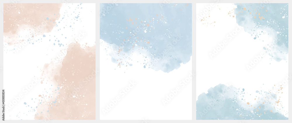 Set of 3 Delicate Abstract Watercolor Style Vector Layouts. Light Beige and Blue Paint Stains on a White Background. Pastel Color Stains and Splatter Print Set. - obrazy, fototapety, plakaty
