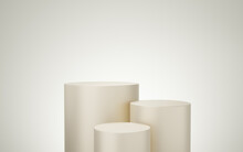 3 Empty Yellow Or Cream Cylinder Podium Floating On Bone White Copy Space Background. Abstract Minimal Studio 3d Geometric Shape Object. Pedestal Mockup Space For Display Of Product Design. 3d Render.