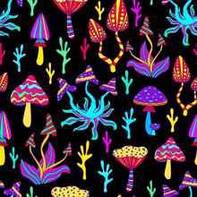 Trippy Psychedelic Mushrooms Seamless Pattern