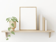 Small Vertical Wooden Frame Mockup In Scandi Style Interior With Trailing Green Plant In Pot, Pile Of Books And Shelf On Empty Neutral White Wall Background. A4, A3 Format. 3d Rendering, Illustration