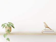 Interior Wall Mockup In Neutral Minimalist Scandi Style With Trailing Green Plant And Bird On Wooden Shaelf On Empty White Wall Background. Close Up View, 3d Rendering, 3d Illustration