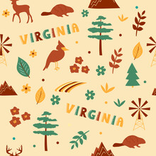 USA Collection. Vector Illustration Of Virginia Theme. State Symbols