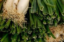 Cebolletas Frescas En Mercado De Primavera.Verduras