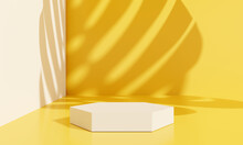 Orange Product Display Podium With Shadow Nature Leaves. 3D Rendering