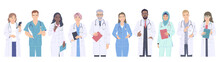 Diverse People, Medical Workers Male And Female Characters.