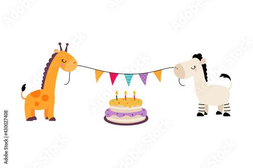 Fototapeta premium Happy Birthday Concept, Cute Giraffe and Zebra Holding Party Flags Celebrating Holiday Cartoon Vector Illustration