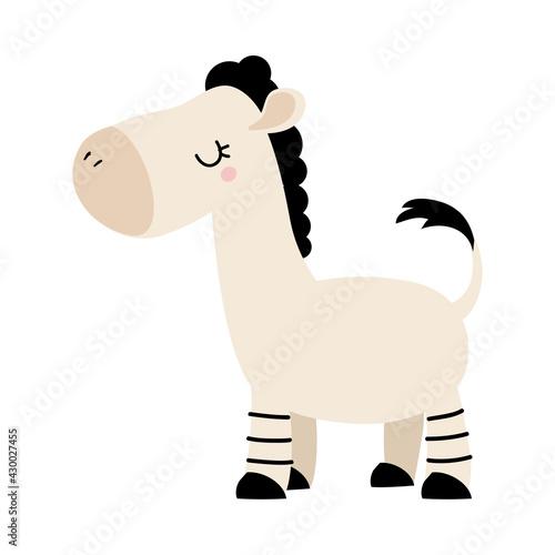 Fototapeta premium Side View of Cute Zebra, Adorable Baby Animal Character Cartoon Vector Illustration