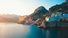 Italy, Amalfi, Tyrrhenian Sea, Aerial Shoot, Beautiful Landscape, Steep Cliffs