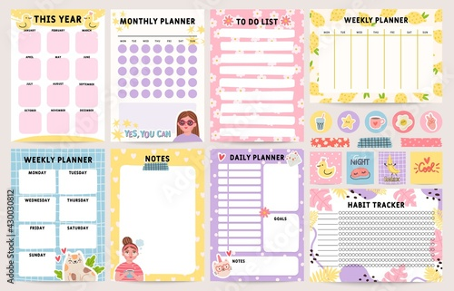 Planner notebook. Decorated daily, monthly and weekly plan template. To do list, schedule and habit tracker. Organizer note pages vector set - fototapety na wymiar