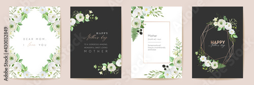 Mothers day beautiful floral cards. Watercolor flowers frame vector set. Spring flower design for Mother party - fototapety na wymiar