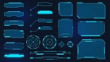 Futuristic Frames. Cyberpunk HUD Square Screen, Callout, Title And Radar. Digital Info Box And Sci Fi UI Panel. Virtual Interface Vector Set