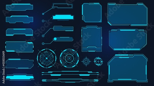 Futuristic frames. Cyberpunk HUD square screen, callout, title and radar. Digital info box and sci fi UI panel. Virtual interface vector set - fototapety na wymiar