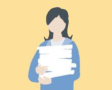 書類を抱えている女性 Woman Holding Documents