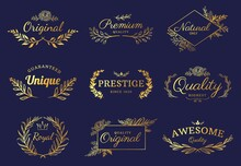 Golden Ornament Labels. Luxury Floral Badges And Logo With Leaf, Flowers And Crown. Vintage Gold Royal Premium Flourishes Element Vector Set