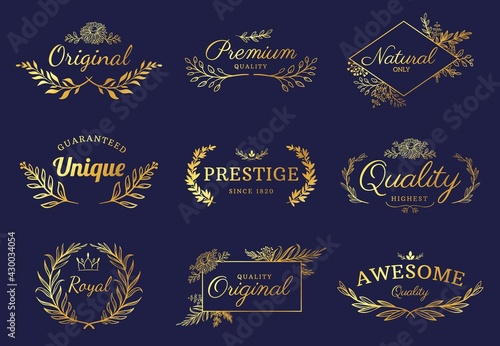 Golden ornament labels. Luxury floral badges and logo with leaf, flowers and crown. Vintage gold royal premium flourishes element vector set - fototapety na wymiar