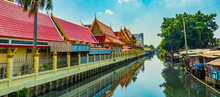 Temple Along Prem Prachakon Canal River Don Mueang Bangkok Thailand.