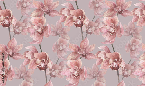 watercolor floral seamless pattern with orchid flowers on gray background for textiles and surface design and women's clothing - fototapety na wymiar