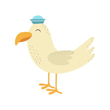 Illustration With Cute Seagull Isolated On White