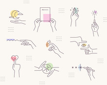 Emotional Mood Hand Gestures. Line Drawing Icons And Soft Colors. Simple Pattern Design Template.