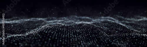 Wave of particles. Dynamic wave on black background. Big data visualization. Data technology abstract futuristic illustration. 3d rendering. - fototapety na wymiar