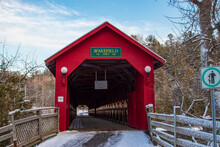 Red Wood Covered Bridge On A Bright Winter Afternoon - Gendron Covered Bridge, Wakefield, Quebec, Canada