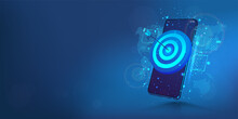 Darts Target On Smartphone Display. The Concept Of Success, Achieving Goals And In The Direction And Development Of A Company, Startup Or Mobile App. Business Target, Success, Accuracy Concept. Vector