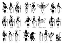 Ancient Egyptian God, Goddess, And Deities In Stick Figure Icons. Vector Illustration Set Of Popular Egypt Deities Amon, Osiris, Isis, Horus, Anubis, Seth, Sobek, Taweret, Ptah, Sekhmet And Bastet.