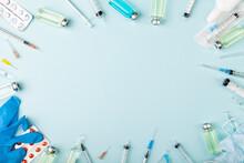 Glass Vaccine Ampoules, Bottles, Gloves, Syringes, Needles, Pills