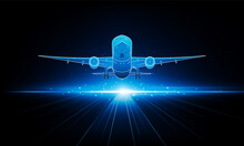 Abstract Light Out Plane Is Flying Travel By Air Transport Background Hitech Communication Concept Innovation Background Vector Design.