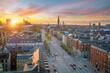 Cityscape of downtown Copenhagen city skyline in Denmark
