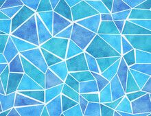 Blue Mosaic Seamless Pattern With Watercolor Texture. Decorative Abstract Geometric Print. Vector Artistic Wallpaper With Broken Glass Or Ice, Polygonal Sea Or Ocean Water Surface