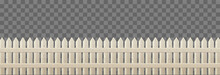 Wooden Picket Fence For Garden Or Backyard Isolated On Transparent Background. Vector Realistic Barrier With Light Wood Texture, Rustic Railing. Enclosure From Boards, Rural Boundary From Planks