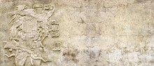 Grunge Background With Stone Wall Texture And Bas-relief Of A Mayan King Pakal