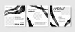 Square social media layouts with black watercolor contrast design elements, web templates with dark smudges effect curves, abstract contrast background