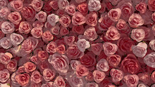 Colorful Flowers Arranged To Create A Romantic Wall. Beautiful, Vibrant Background Formed From Pink Roses. 3D Render