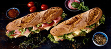 Delicious Sub Sandwiches Amidst Natural Ingredients