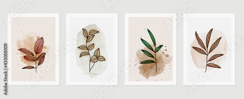 Botanical wall art vector set. Water color boho foliage line art drawing with  abstract shape.  Abstract Plant Art design for print, cover, wallpaper, Minimal and  natural wall art. - fototapety na wymiar