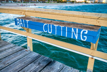 Bait Cutting Sign Along The Pier